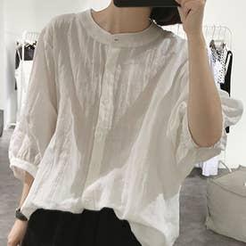ノーカラーボリュームスリーブコットンシャツ 韓国ファッション (ホワイト)