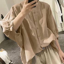 ノーカラーボリュームスリーブコットンシャツ 韓国ファッション (グレージュ)