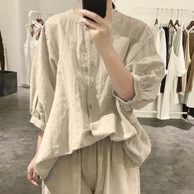 ノーカラーボリュームスリーブコットンシャツ 韓国ファッション (アイボリー)