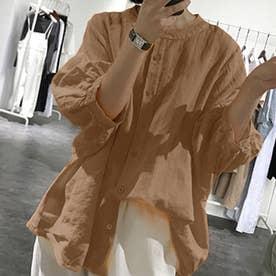 ノーカラーボリュームスリーブコットンシャツ 韓国ファッション (モカ)