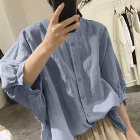 ノーカラーボリュームスリーブコットンシャツ 韓国ファッション (ブルー)