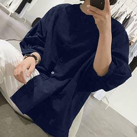 ノーカラーボリュームスリーブコットンシャツ 韓国ファッション (ネイビー)