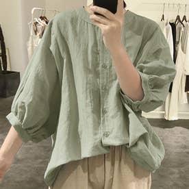ノーカラーボリュームスリーブコットンシャツ 韓国ファッション (グリーングレー)