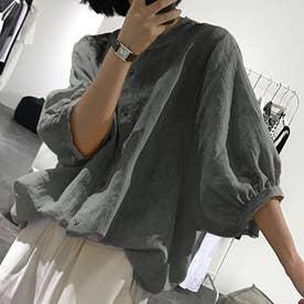 ノーカラーボリュームスリーブコットンシャツ 韓国ファッション (チャコール)