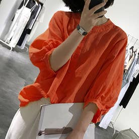 ノーカラーボリュームスリーブコットンシャツ 韓国ファッション (テラコッタ)