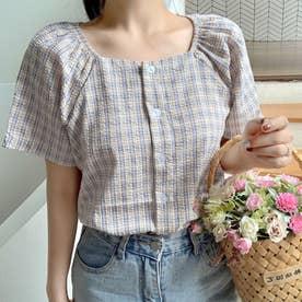 チェック柄半袖スクエアネックボタンブラウス 韓国ファッション (クリーム)