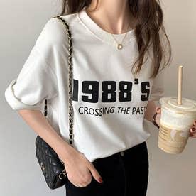 カラーロゴプリントTシャツ 韓国ファッション (ホワイト)
