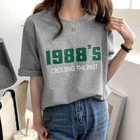 カラーロゴプリントTシャツ 韓国ファッション (グレー)