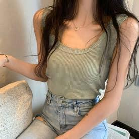 メロウフリルタンクトップ 韓国ファッション (グリーン)