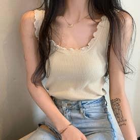 メロウフリルタンクトップ 韓国ファッション (ベージュ)