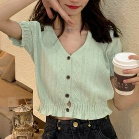 キャンディスリーブVネックボタンニットトップス 韓国ファッション (グリーン)