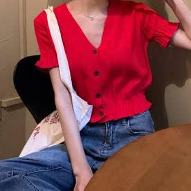 キャンディスリーブVネックボタンニットトップス 韓国ファッション (レッド)