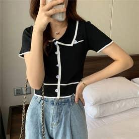 配色ラインリブボタンポロシャツ 韓国ファッション (ブラック)