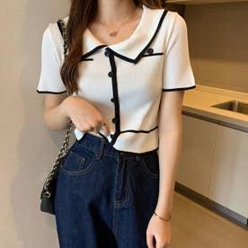 配色ラインリブボタンポロシャツ 韓国ファッション (ホワイト)