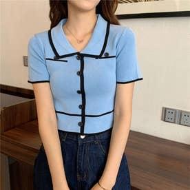 配色ラインリブボタンポロシャツ 韓国ファッション (ブルー)