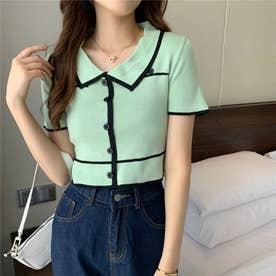 配色ラインリブボタンポロシャツ 韓国ファッション (グリーン)