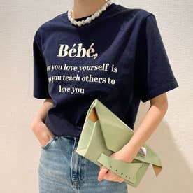 刺繍ロゴTシャツ 韓国ファッション (ネイビー)