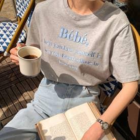 刺繍ロゴTシャツ 韓国ファッション (グレー)