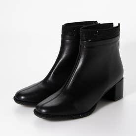 ラインストーン付ショートブーツ (ブラック)