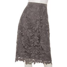 ケミカルフラワーレースタイトスカート (チャコールグレー)