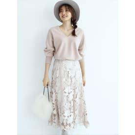 スエードレース刺繍フレアスカート (ベージュ)