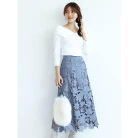スエードレース刺繍フレアスカート (ダスティー)