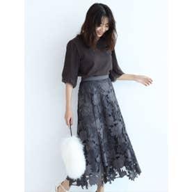 スエードレース刺繍フレアスカート (チャコールグレー)