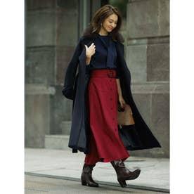 ベルト付きカラースカート (レッド)