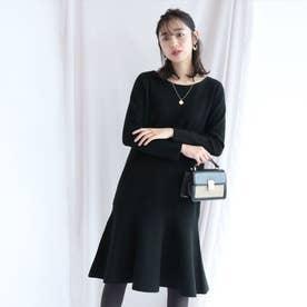 裾フレアミラノリブワンピース (黒)