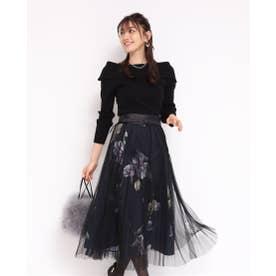 チュール重ねプリントスカート (黒)