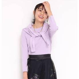 7分袖クルーネックニットアンサンブル (薄紫)