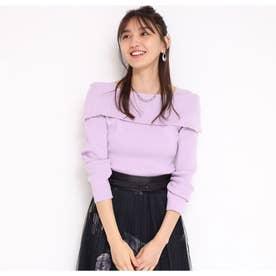長袖2wayセーラーカラーリブニット (薄紫)
