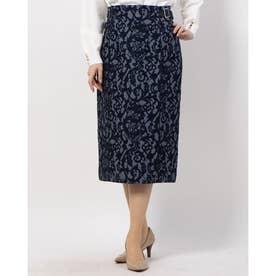 レースボンディングタイトスカート (紺)