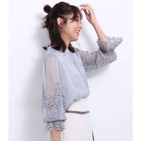楊柳刺繍ブラウス (ライトブルー)