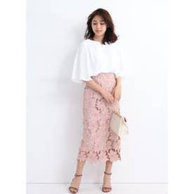 配色レースタイトスカート (ピンク)