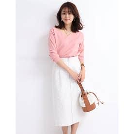 ストライプレースボンディングタイトスカート (白)