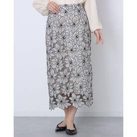 配色レースタイトスカート (黒)