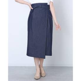 ラップ風タイトスカート (紺)