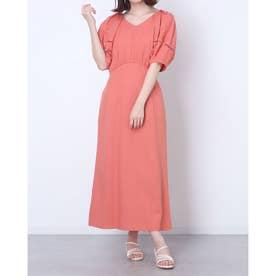 リネン混袖ボリュームワンピース (橙)