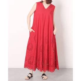 裾刺繍Aラインワンピース (赤)