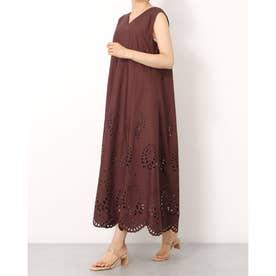 裾刺繍Aラインワンピース (茶)