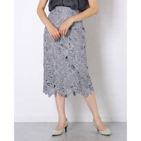 NEW配色レースタイトスカート (チャコールグレ)