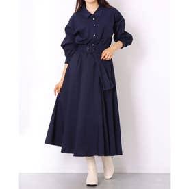 パール釦シャツ×スカートSET (紺)