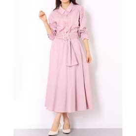 パール釦シャツ×スカートSET (ピンク)