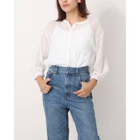 ノーカラーエアリーゆるシャツ (白)