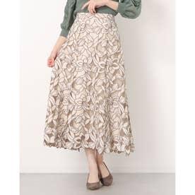 スエード刺繍フレアスカート (ベージュ)