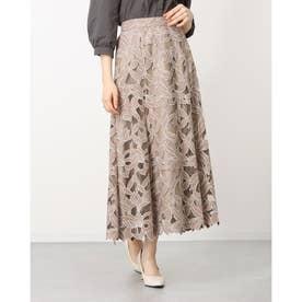 スエード刺繍フレアスカート (モカ)