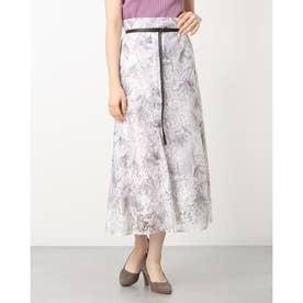ヘムフレアレースプリントスカート (紫)