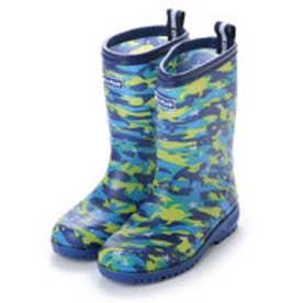 総柄 カモフラージュブルー レインシューズ スリップ防止 19cm-24cm キッズ 男の子 長靴 レインブーツ 子供 kp_17007 (BLUE(迷彩))