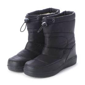 防寒ブーツ ジュニア キッズ ガールズボーイズ 男の子用 ゴム紐バンド付き kp_17983 (BLACK) (ブラック)